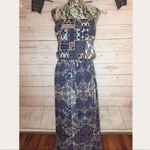 Gypsy 05 Printed Strapless Silk Maxi Dress XS/ S